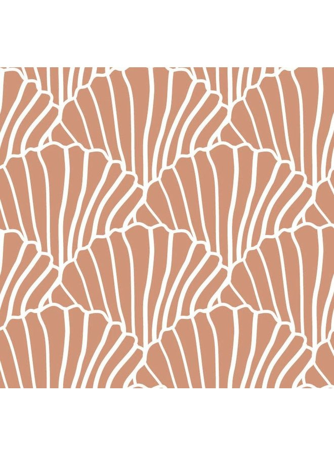 Swedish Linens hoeslaken Seashells Terracotta pink, 90 x 200 cm