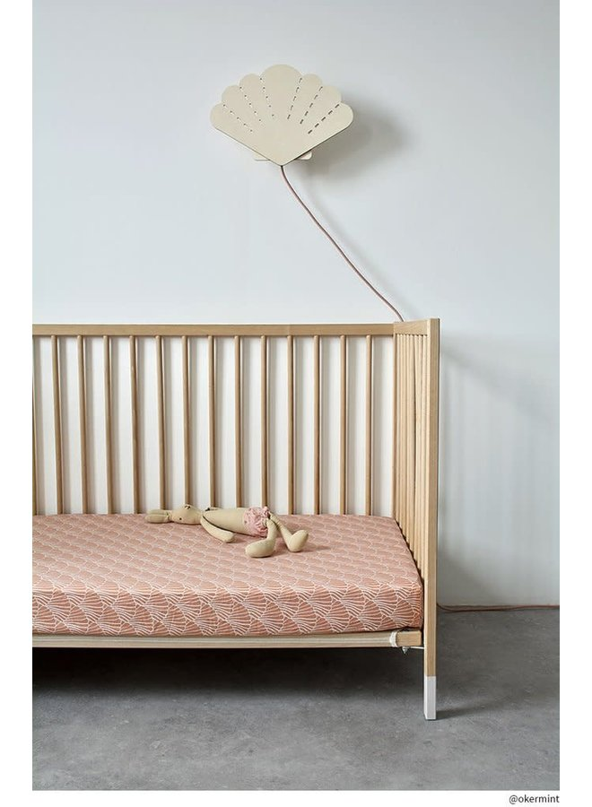 Swedish Linens hoeslaken Seashells Terracotta pink, 60 x 120 cm