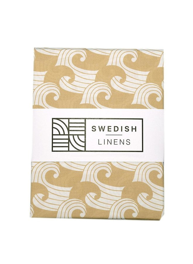 Swedish Linens hoeslaken Waves warm sand, 60 x 120 cm