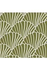 Swedish Linens Swedish Linens hoeslaken Seashells Olive Green, 60 x 120 cm