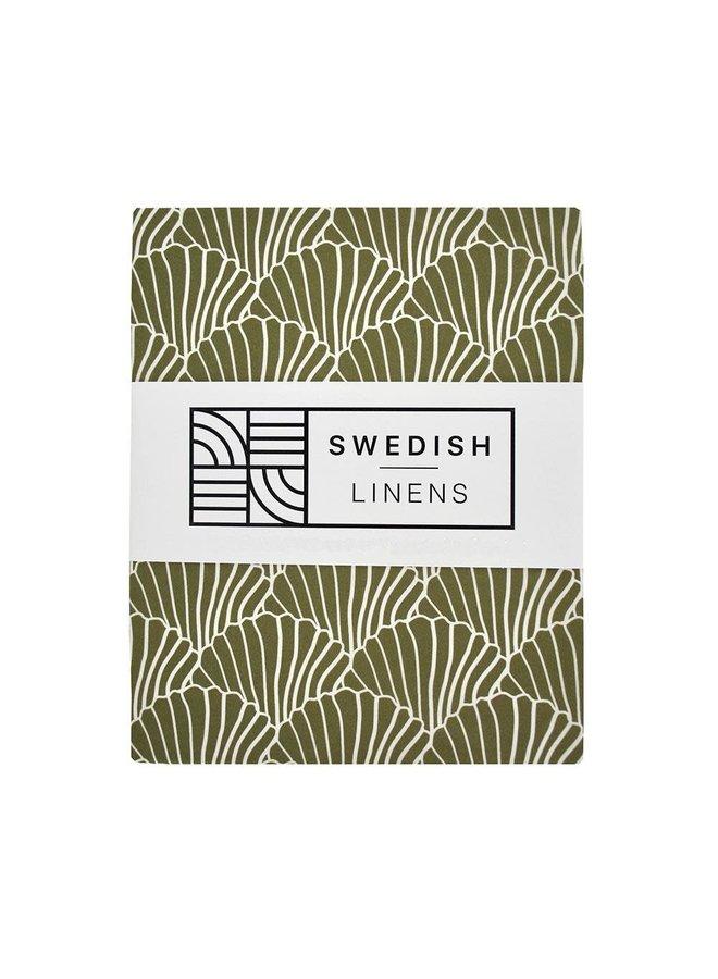Swedish Linens hoeslaken Seashells Olive Green, 60 x 120 cm