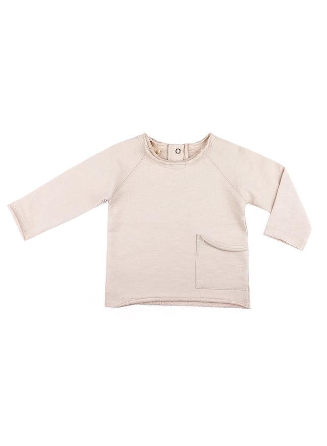 Raw-edged baby sweater oatmeal