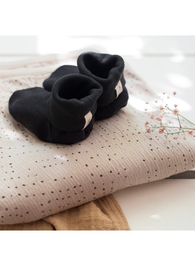 Baby booties pointelle  Charcoal