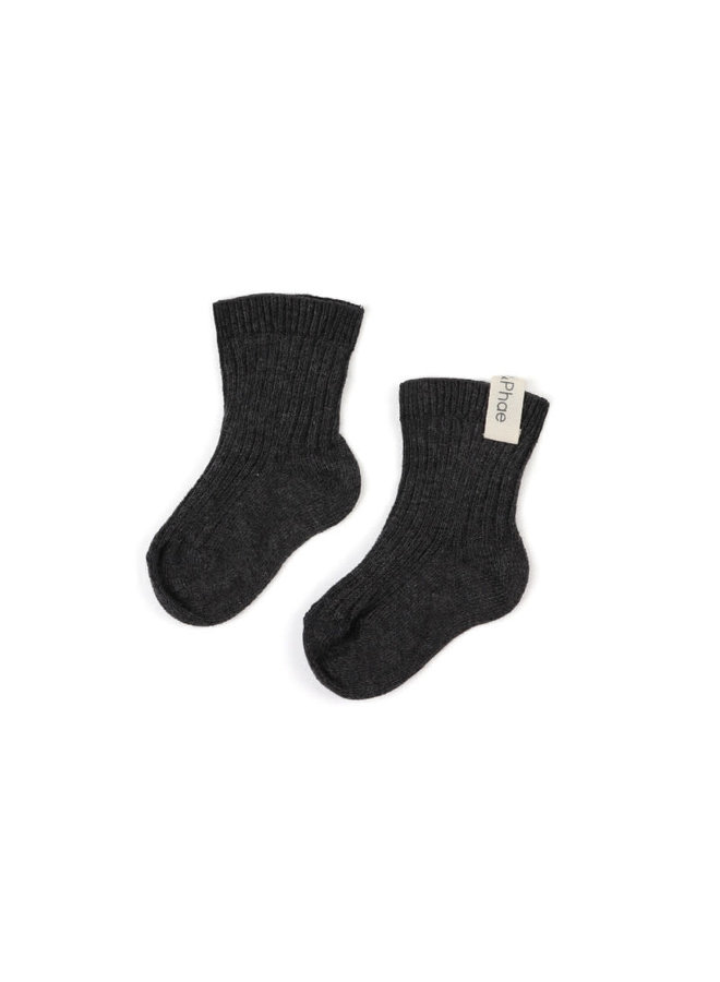 ribbed baby socks Charcoal