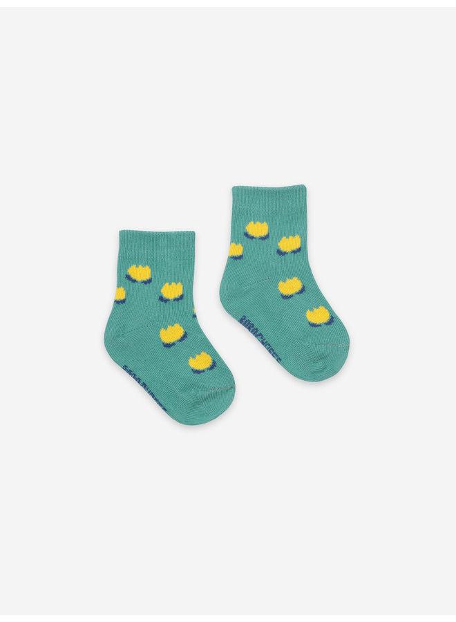 Chocolate Flowers Green Baby Socks