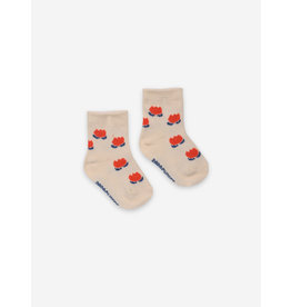 Bobo Choses Chocolate Flowers White Baby Socks