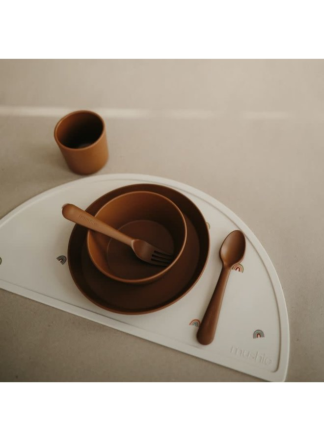 Mushie Bord Rond (set van 2) - Caramel