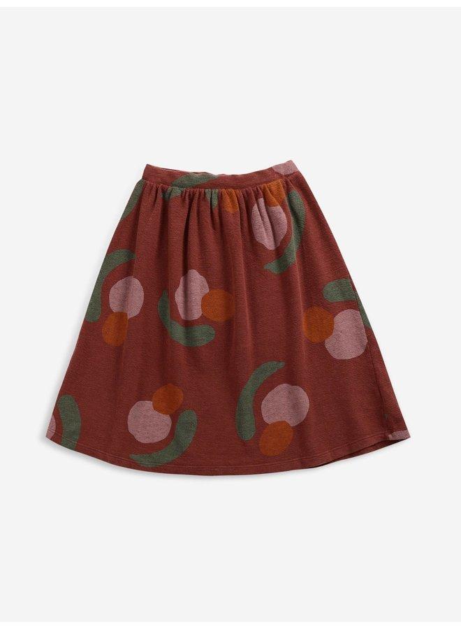 Fruits all over midi skirt