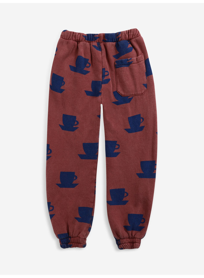 Cup of tea all over jogging pants