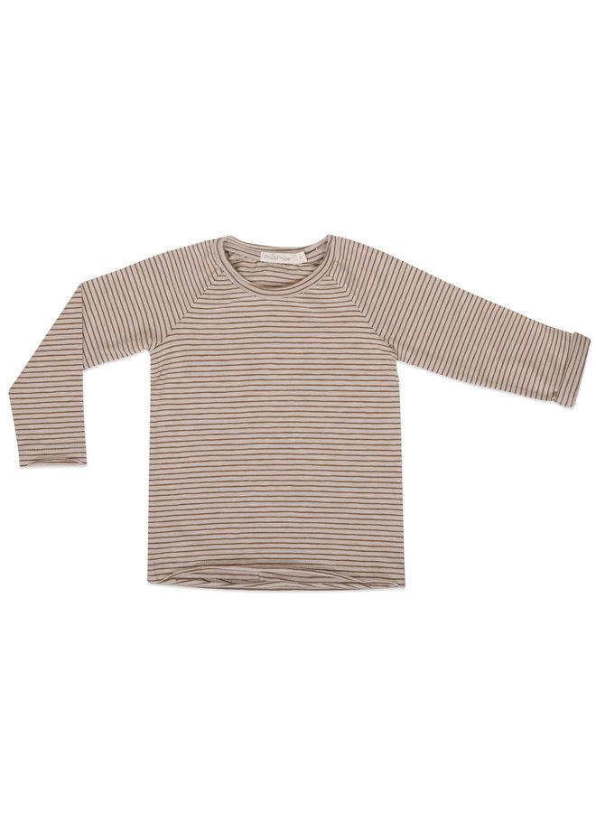 Raglan tee l/s stripes chestnut