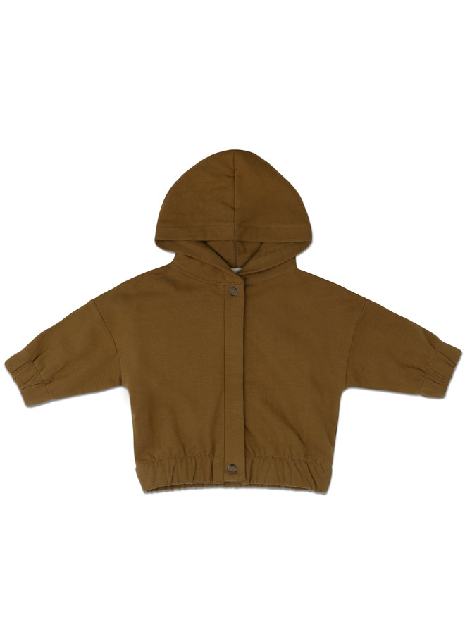Baby jacket with hood bronze olive