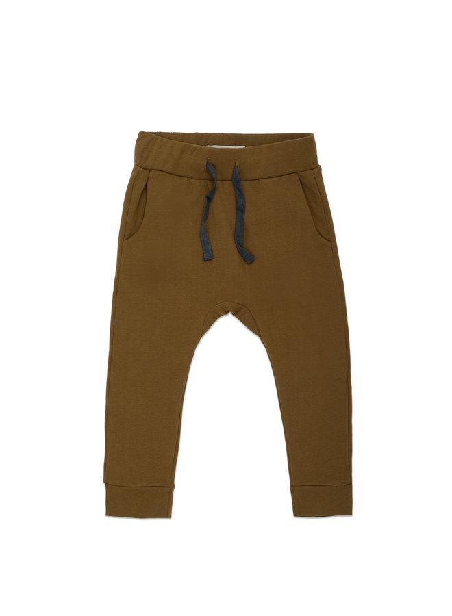 Drop-crotch sweat pants bronze olive