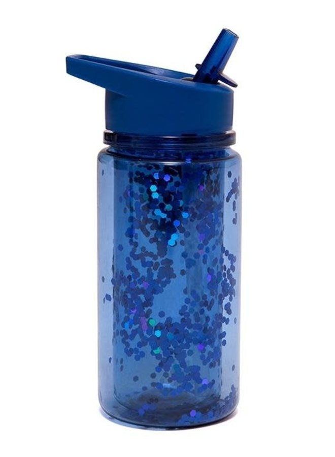 Drinkfles glitter night blue