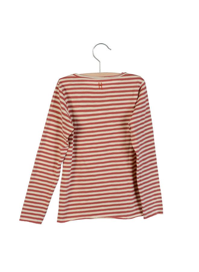 Longsleeve Elana Bleached Sand-Marsala striped