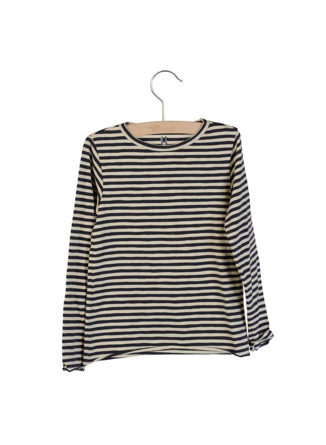 Longsleeve Elana Bleached Sand-Blue Graphite striped