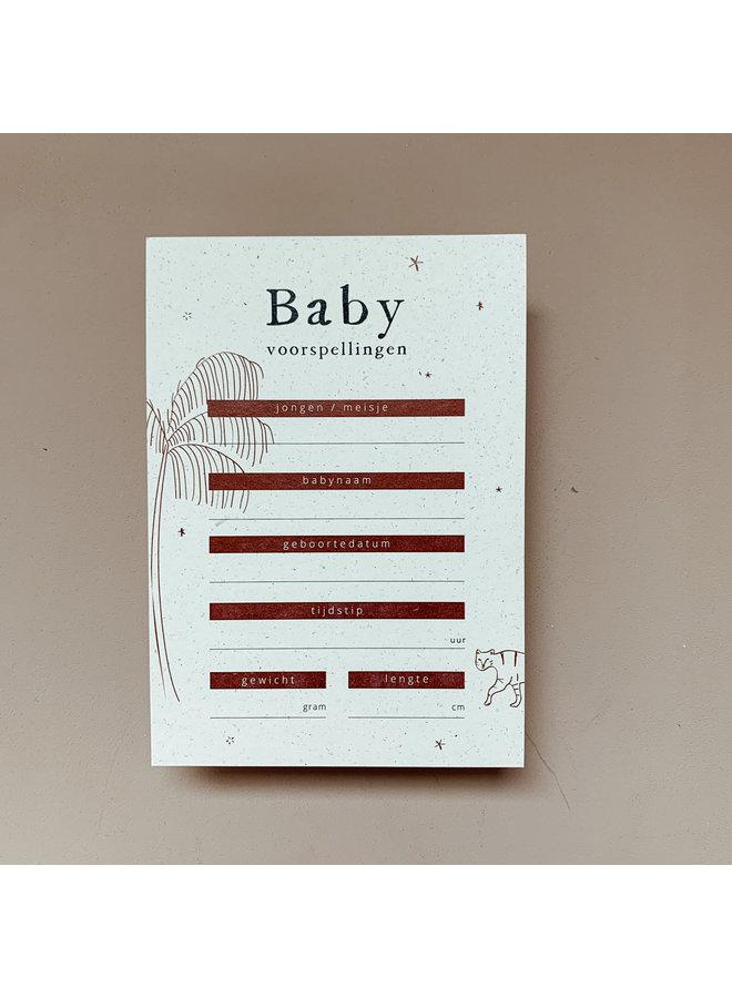 Babyshower voorspellingskaarten   10 stuks