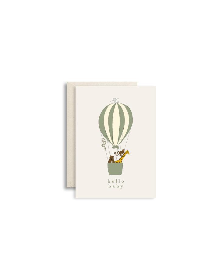 Wenskaart hello baby luchtballon groen