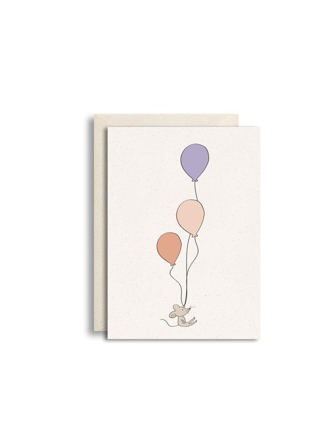 Wenskaart muis met ballonnen