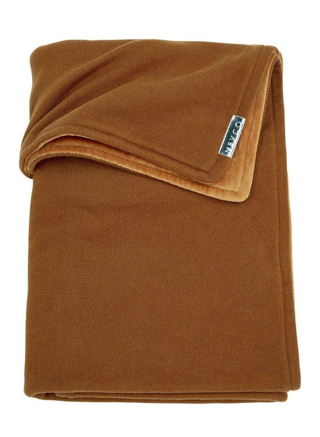 Ledikant deken velvet - camel