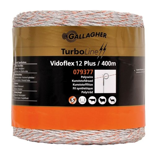 Gallagher Vidoflex 12 TurboLine Plus Wit - 400M.