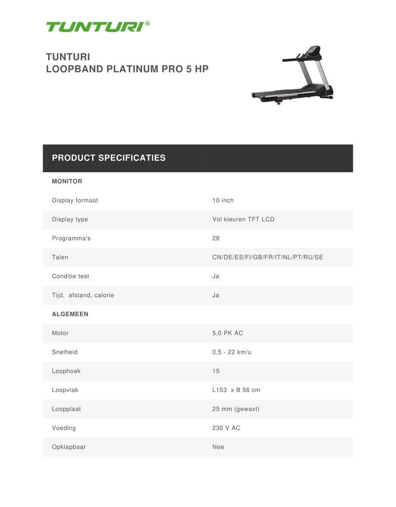 Tunturi Platinum Loopband 5HP Pro