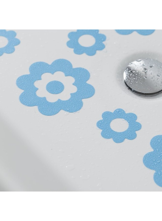 Badbloem zelfklevende antislip stickers vinyl 7 stuks blauw