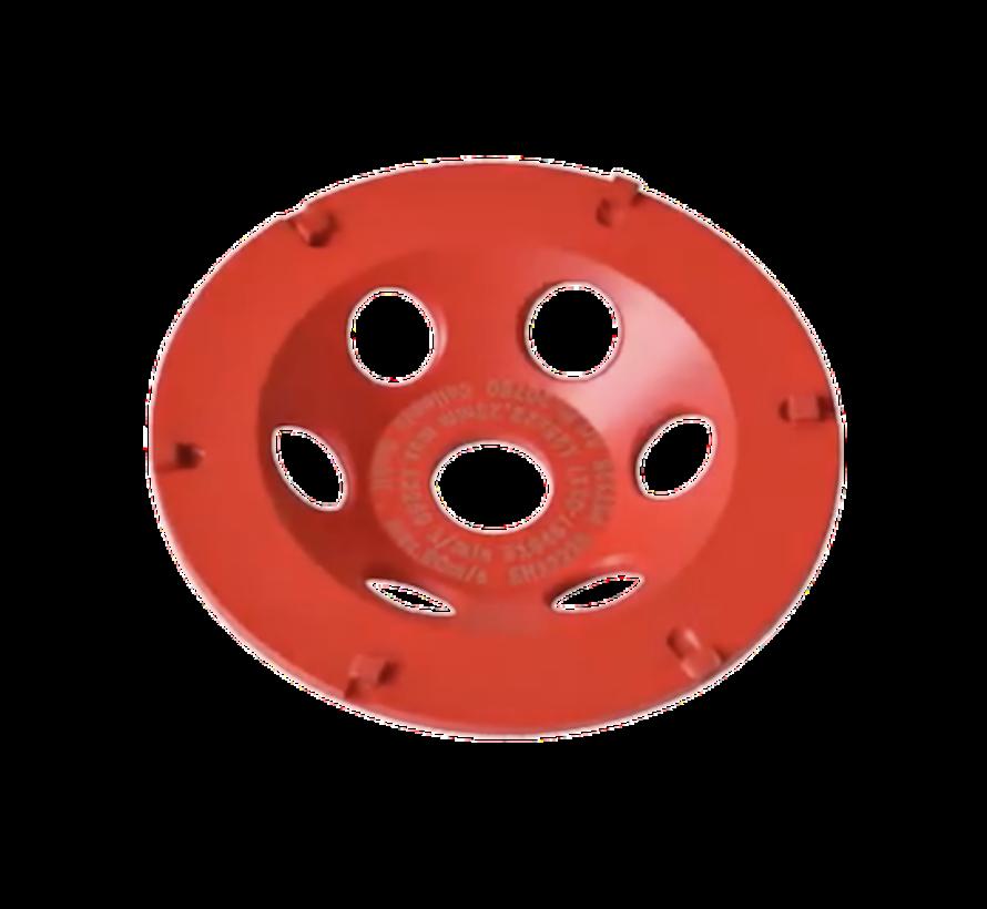 Collomix Slijpkom PST 125 Strap-it (rood), Ø 125 mm, H = 22 mm, b.v. voor (epoxy) afdichtingen, bitumen, incl. lamellenring-set