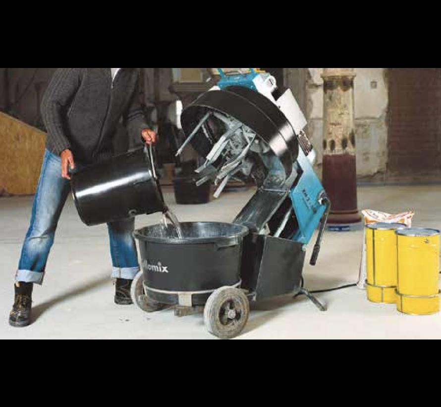 Collomix Dwangmenger XM 2 - 650, 1,1 kW, 50 Hz, 230 V, compleet met speciale mengkuip 65 liter, 1 set mengwerken 3-dlg., andafstrijker met gummi lip