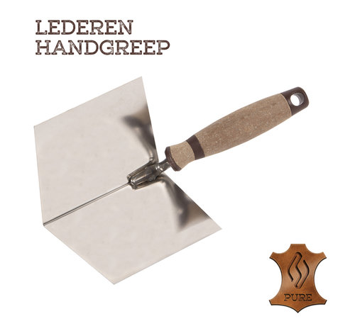 Super Prof Super Prof Hoektroffel inwendig scherp, 100x75 mm RVS Lederen greep