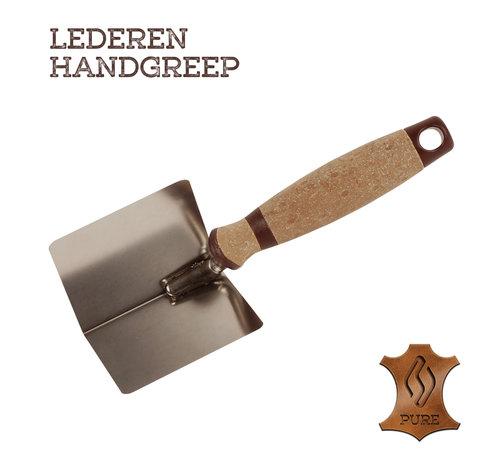 Super Prof Super Prof Hoektroffel inwendig scherp, 80x60 mm RVS Lederen greep