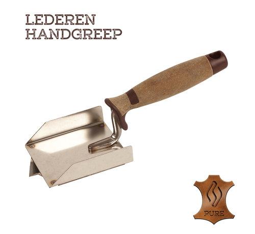 Super Prof Super Prof Hoektroffel inwendig V-groef, 90x80x20mm RVS Lederen greep