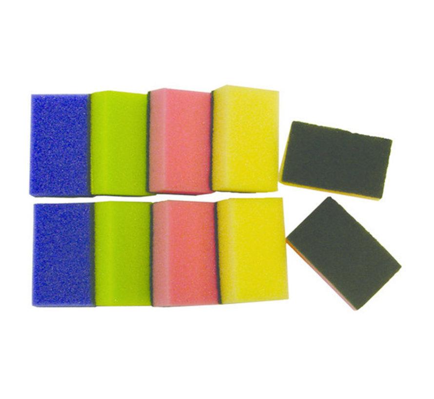 Schuurspons assorti kleuren ca.90x58x30mm 10 stuks
