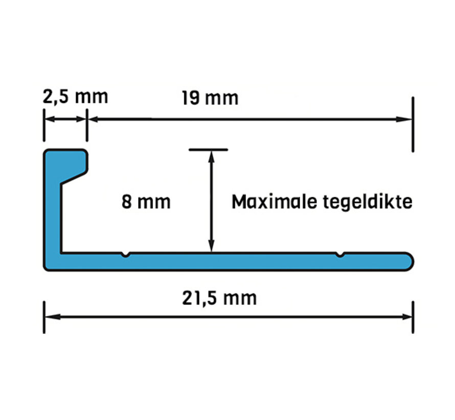 ELTEX Alu recht matzilver 8 x 2700 mm