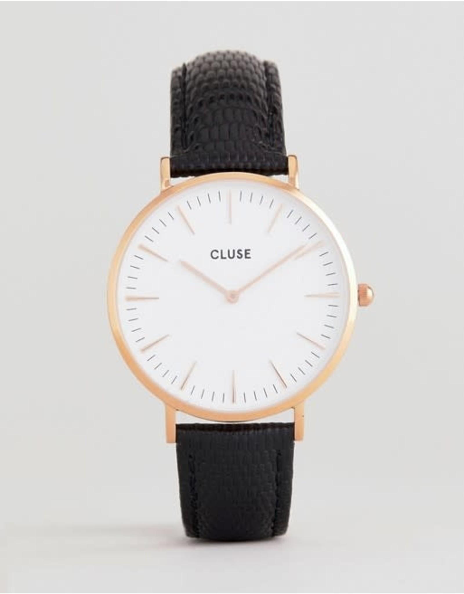 Cluse Cluse CL18037 Boho Chic Staal Roos - Zwart leder 38mm