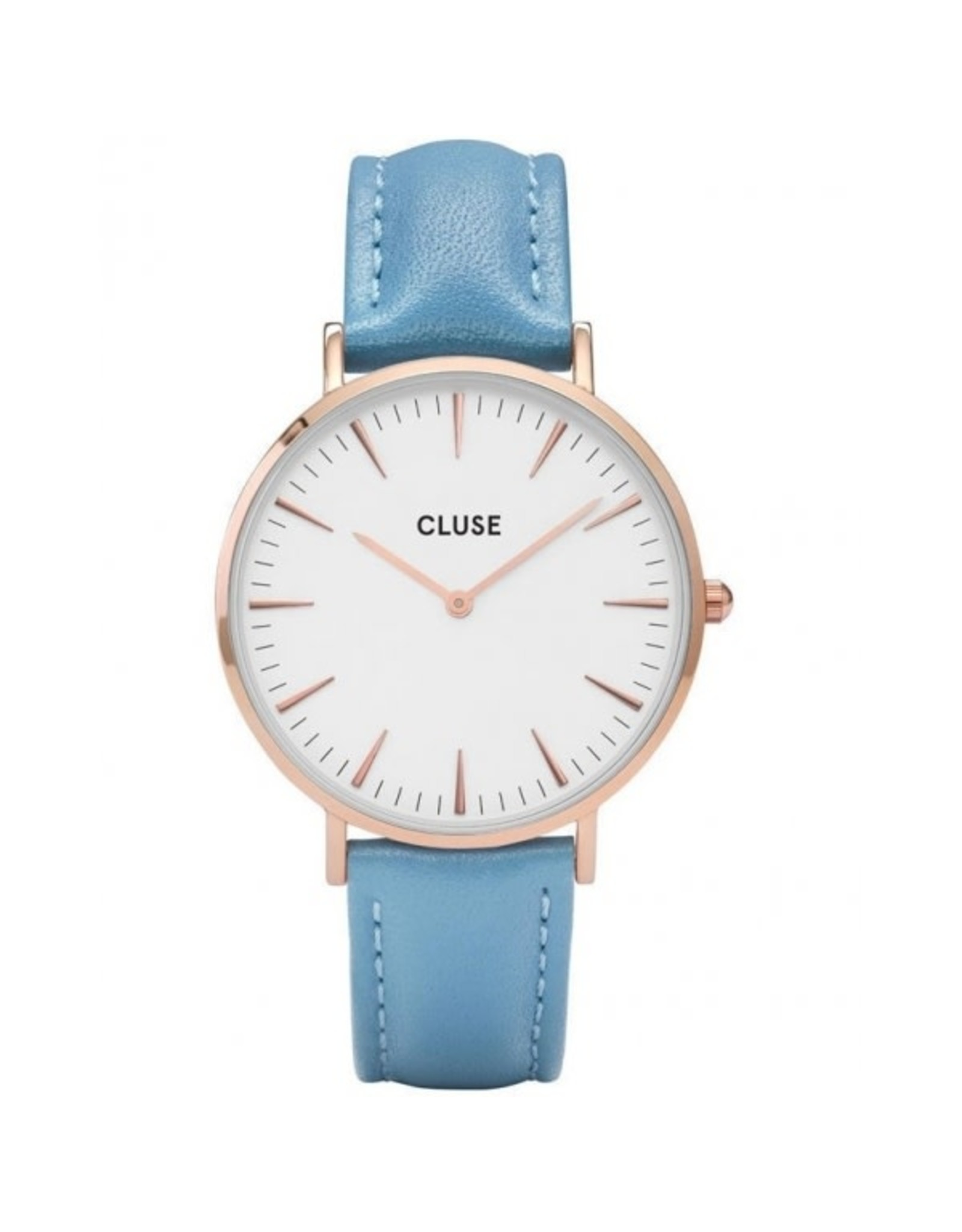 Cluse Cluse CL18033 Boho Chic Staal Roos - Blauw Leder 38mm