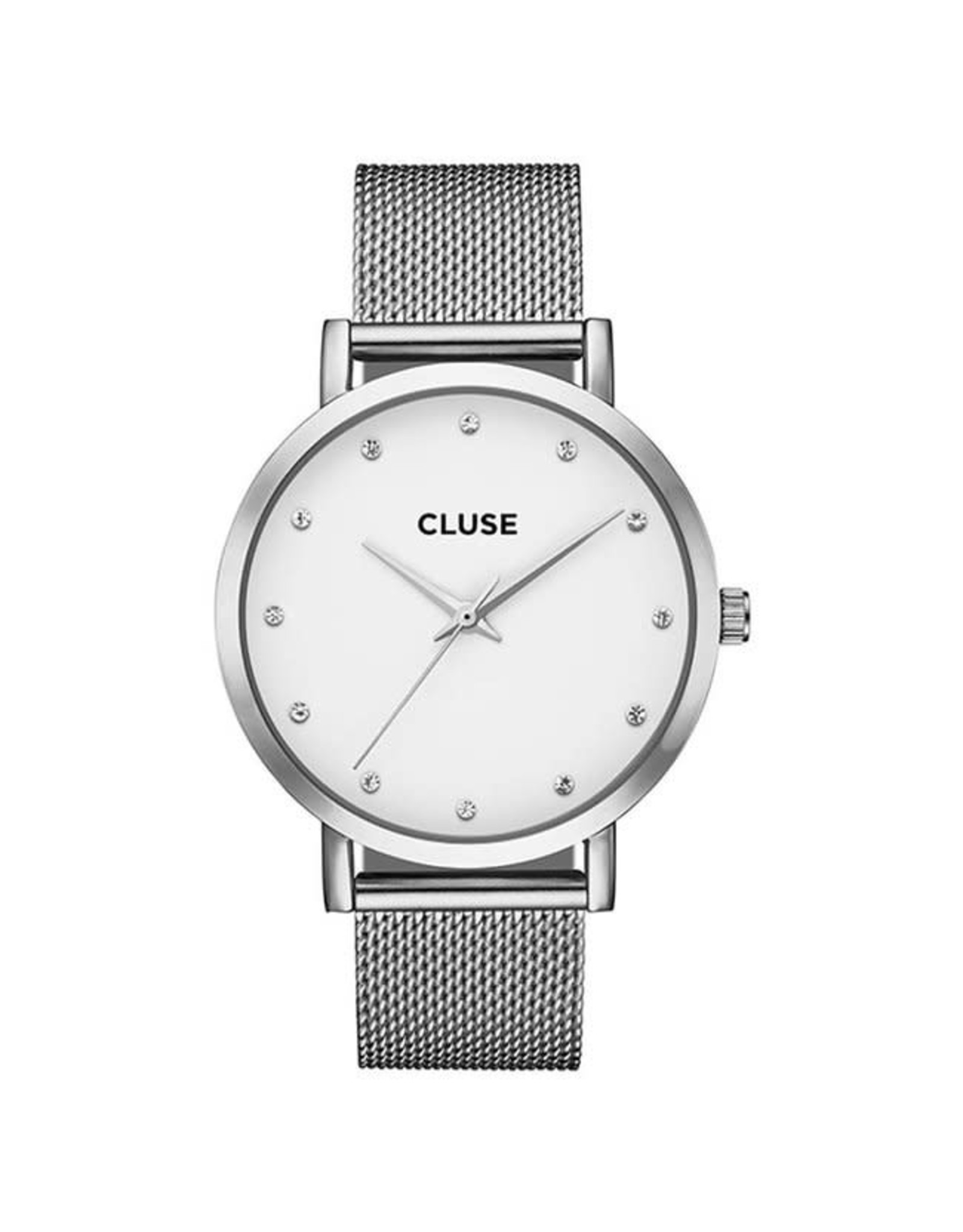 Cluse Cluse CL18301 Pavane Staal Mesh Band Zilver Steentjes 38mm