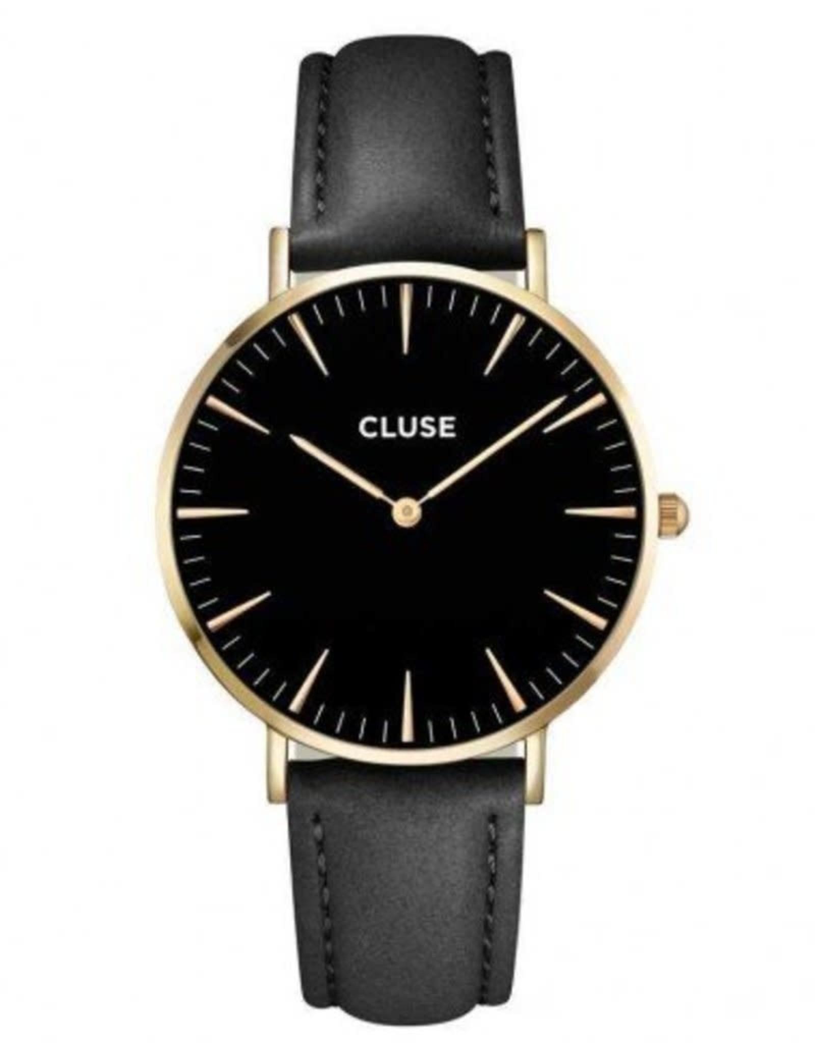 Cluse Cluse CL18401 La Bohème Zwart/Goudkleurig Band Leder Zwart 38 mm