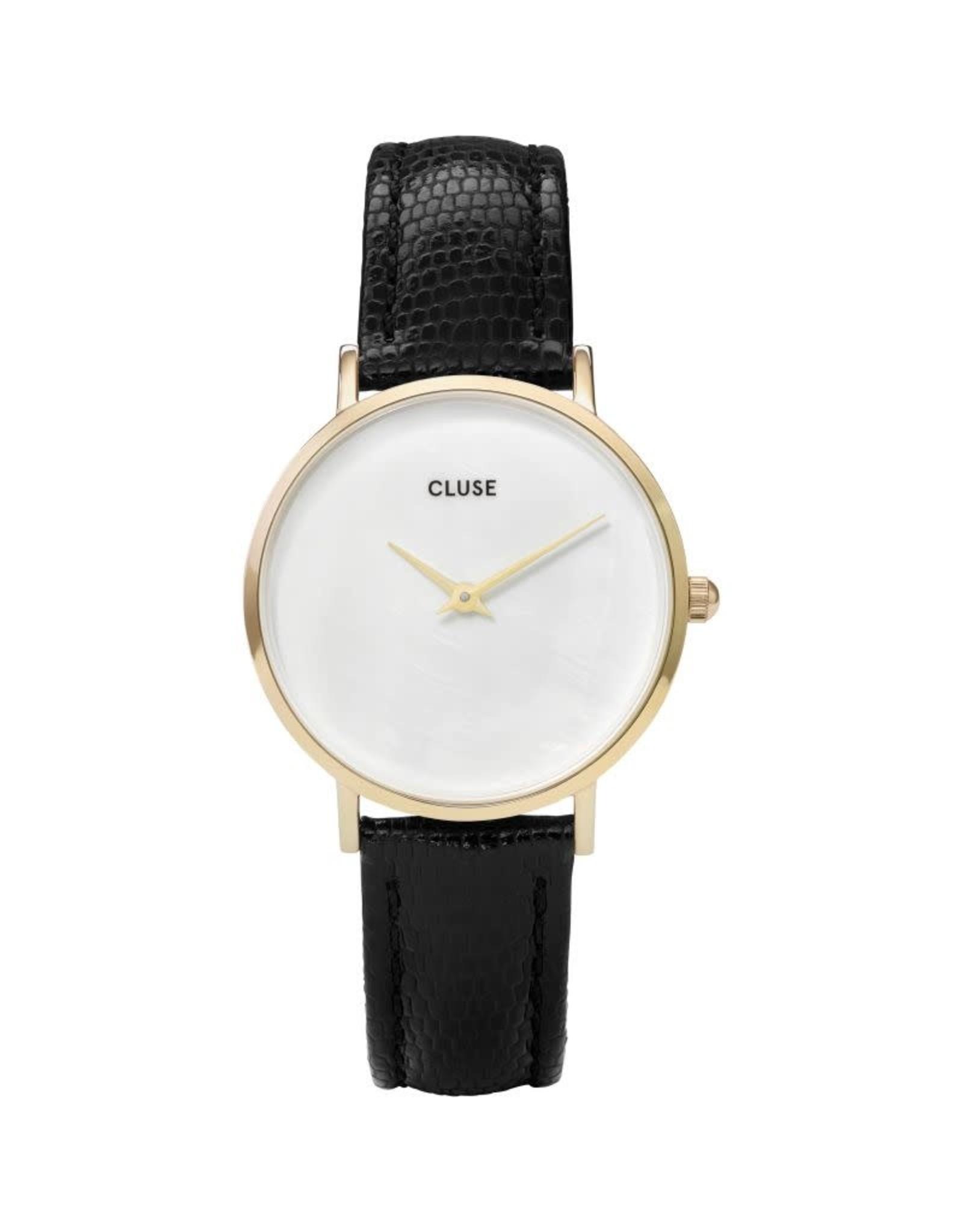 Cluse Cluse CL30048 Minuit La Perle Goud Wit Parelmoer Leder Zwart 33mm