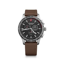 Victorinox Victorinox 241826 Alliance Sport Chronograph Black Dial Brown Leather