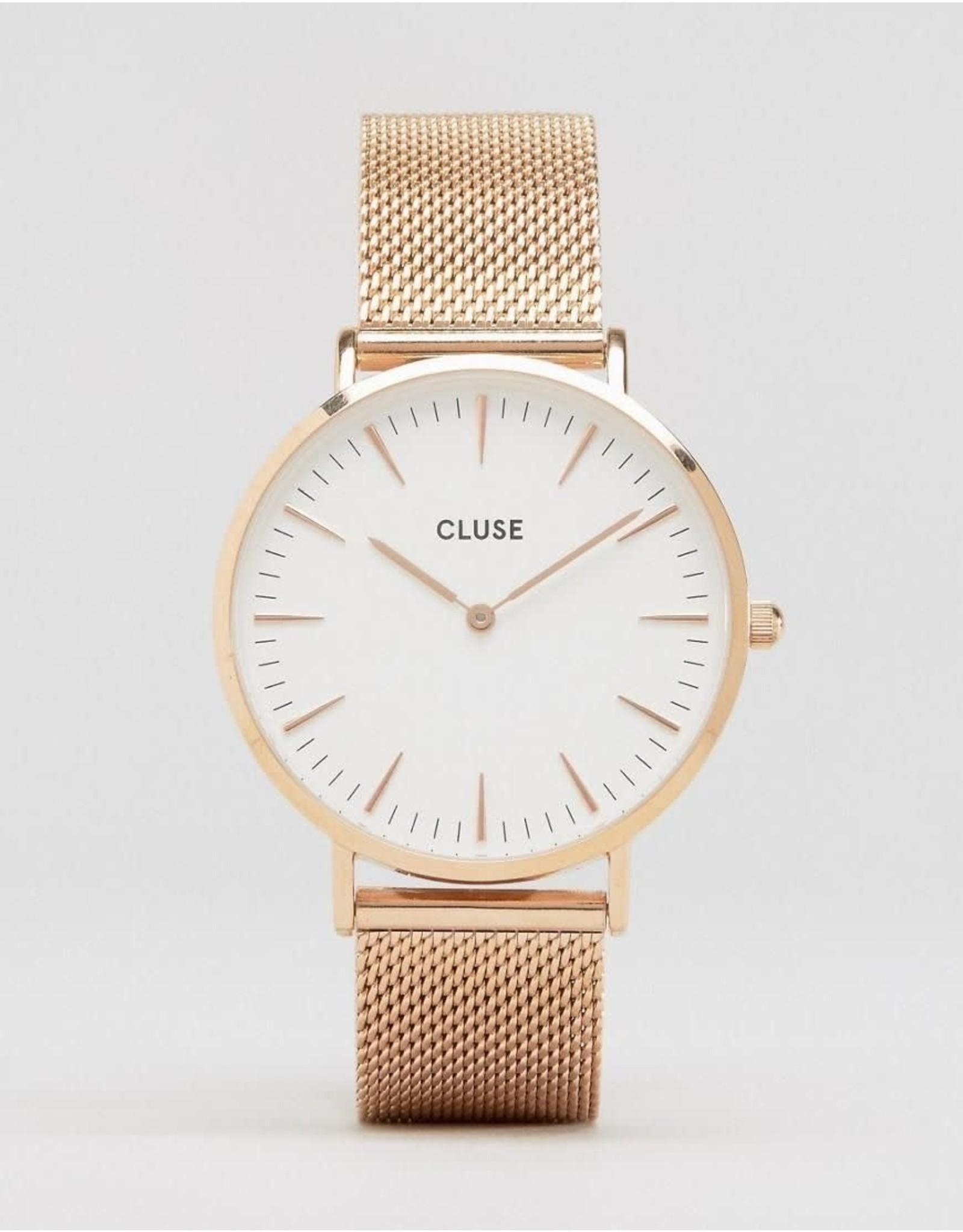 Cluse Cluse CL18112 La Bohème Staal Roos Mesh Band