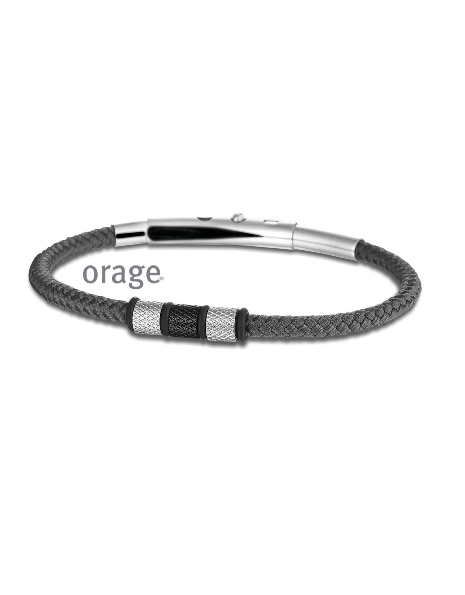 Orage Orage AM085 Armband Heren Staal Grijs Zwart
