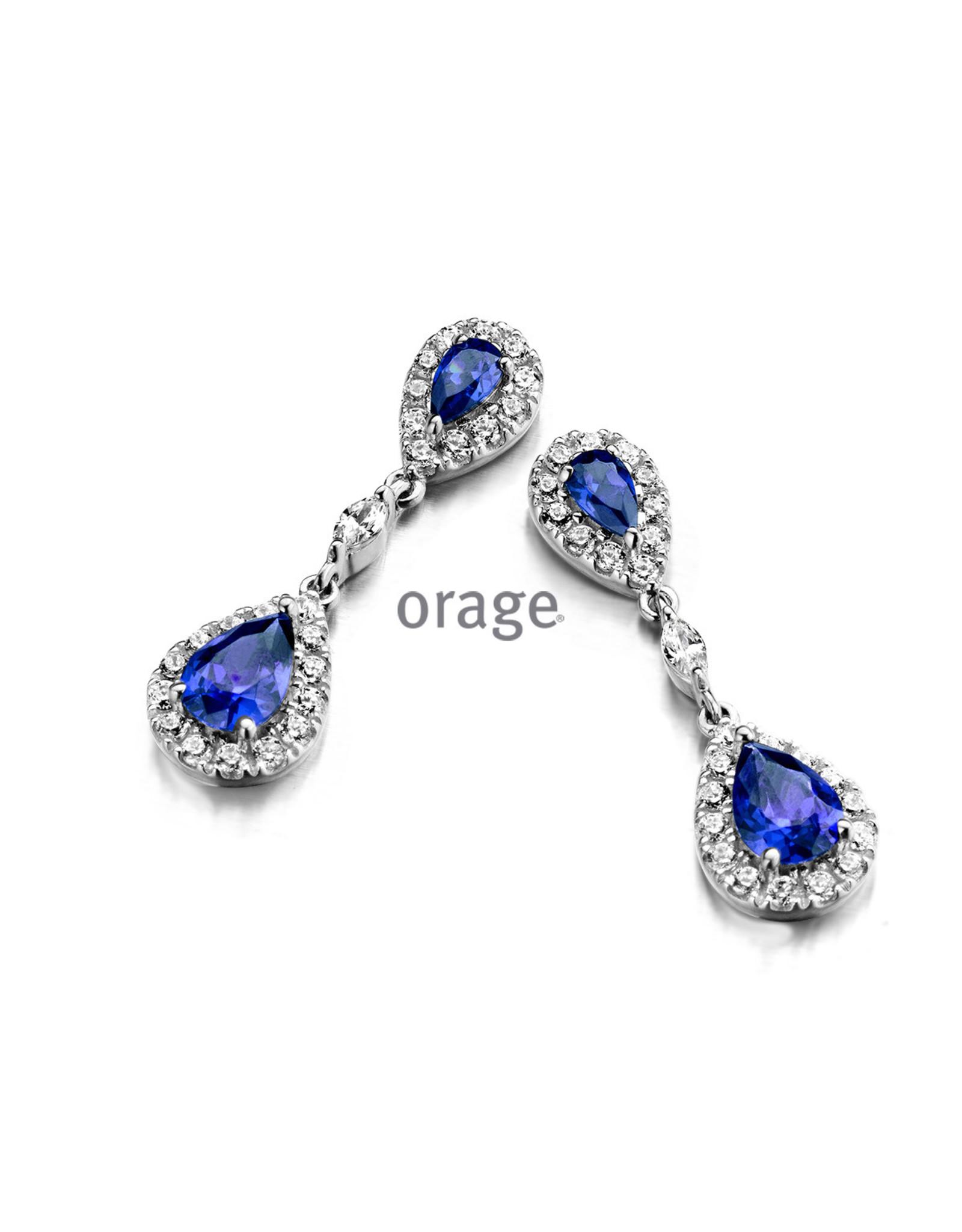 Orage Orage AM129 Oorslingers Zilver Blauwe Steen