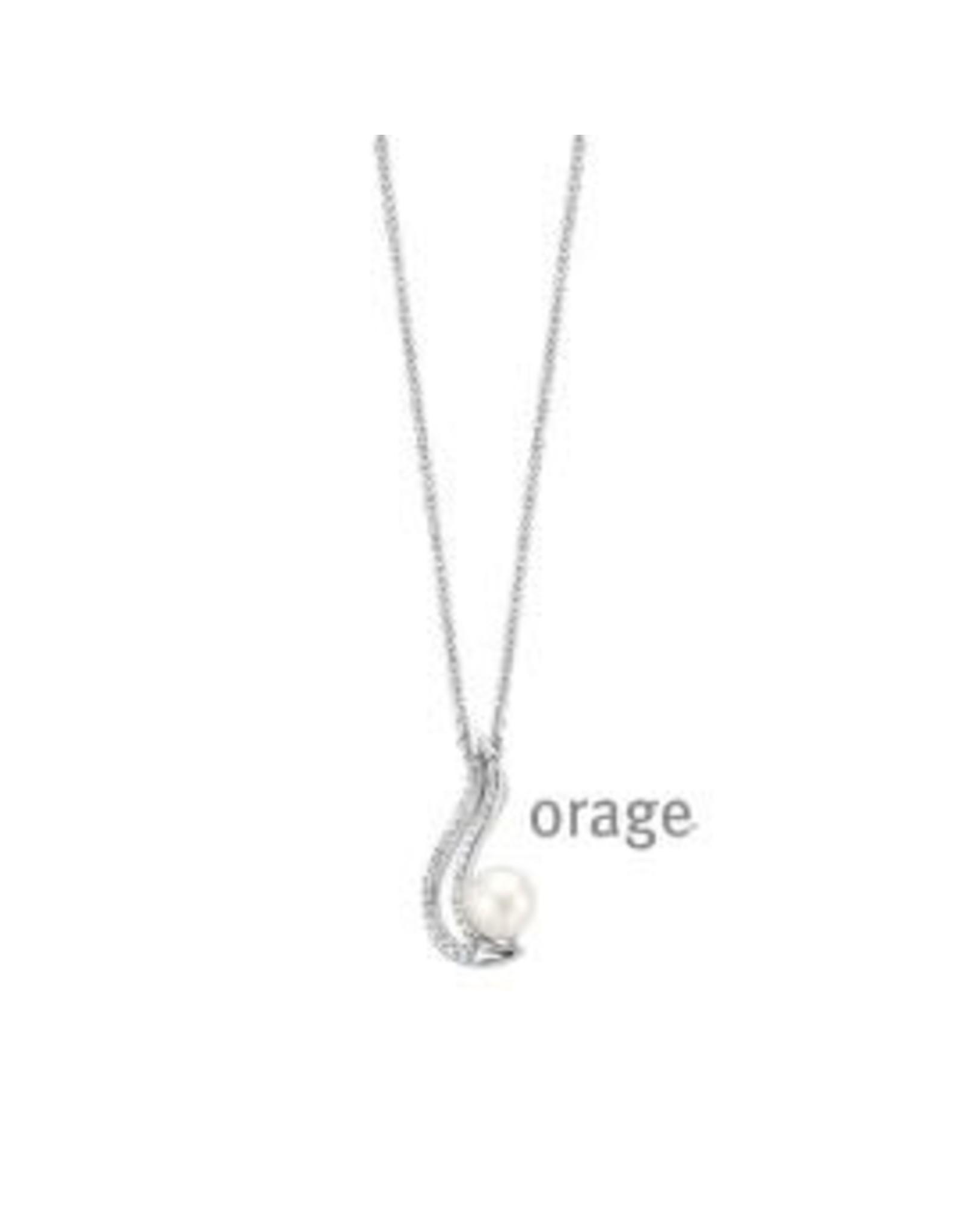 Orage Orage AH250 Halsketting Zilver Parel Zirkonia