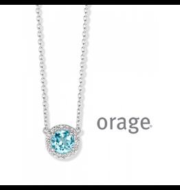 Orage Orage AN034 Halsketting Zilver Topaas Blauw