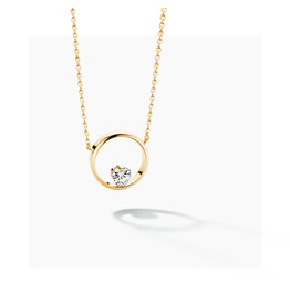 FJF Jewellery Halsketting FJF0010005YWH Icon Heart Silver 925 Yellowgold Plated