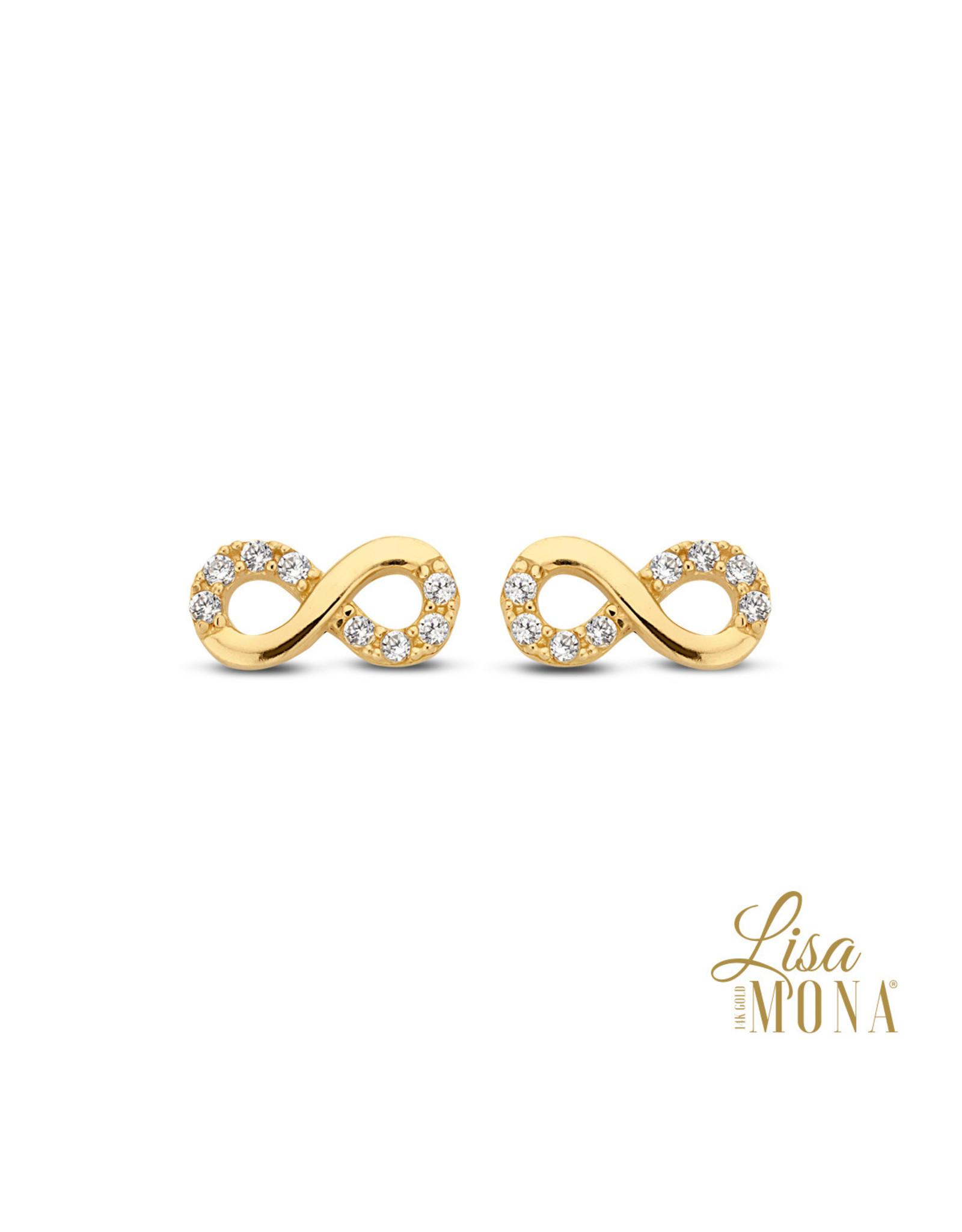 Lisa Mona Oorbellen LisaMona Geel Goud 14kt LM/G0092 Infinity
