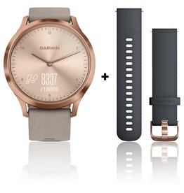 Garmin Garmin 010-01850-09 Vivomove HR Premium Rose Gold Case Suede Band Grey Small/Medium