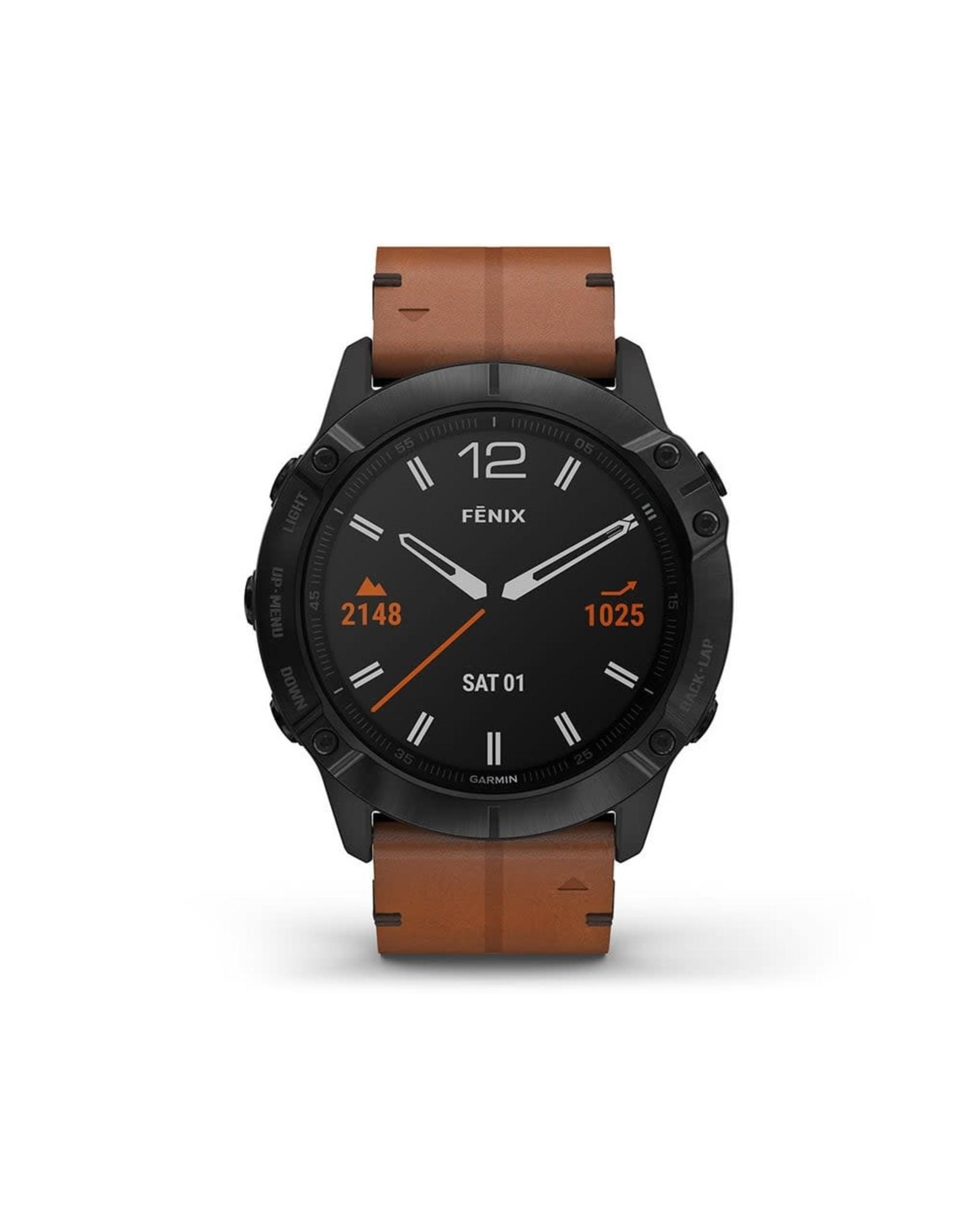 Garmin Garmin 010-02157-14 Fenix 6X GPS Chestnut Leather Band 51mm