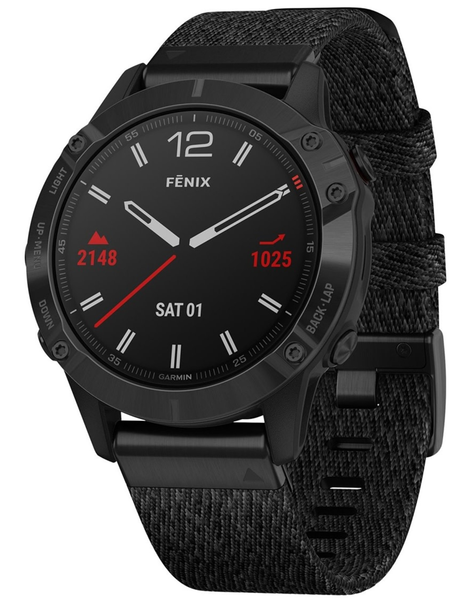 Garmin Garmin 010-02158-17 Fenix 6 GPS Sapphire Black Nylon Band 47mm