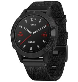 Garmin Garmin 010-02158-17 Fenix 6 GPS Sapphire Black Nylon Band 47mm Medium/Large